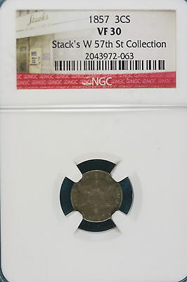 1857 VF30 STACKS'S W. 57TH ST COLLECTION Three Cent!! #A4681