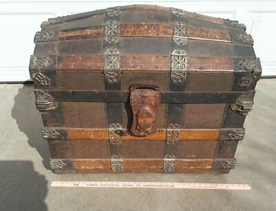 Antique  Victorian Humpback Steamer Trunk Ornate with 2 layer insets