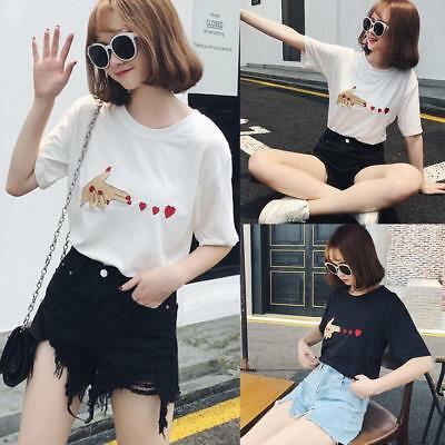 Summer Women Girls Cotton Cute Casual Loose T-shirt Short Sleeve Tee Tops