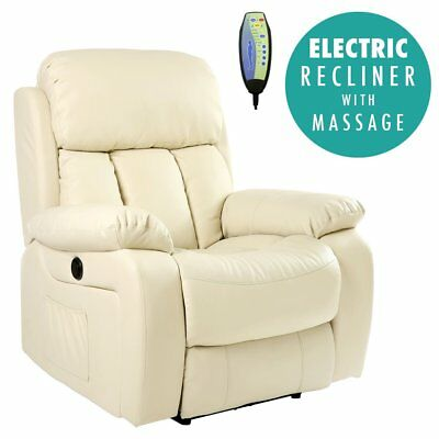 Home Massage Armchair Electric Heated Leather Massage Recliner Chair Sofa  Gaming