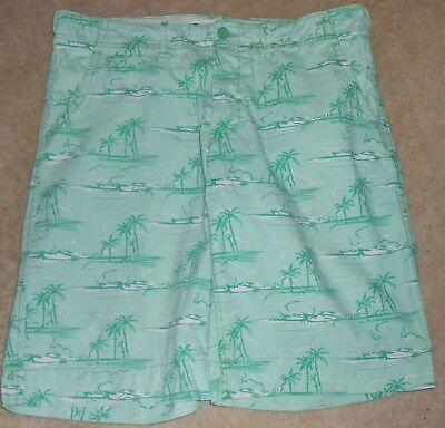 NWOT H & M Shorts,L.O.G.G,label EUR 38, shades of green,palm trees, button front