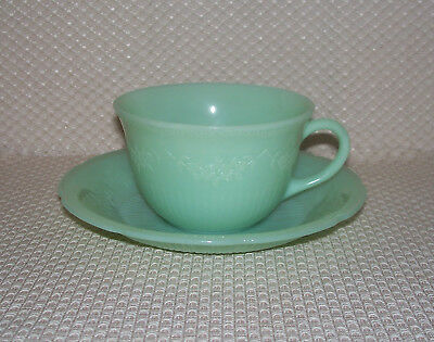 Set/Lot of 6 Vintage Fire King Jadeite Jadite ALICE Cup and Saucer Set