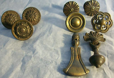 Vintage Lot Of 9 Brass & Cast Metal Draw/cabinet Pulls-Mixed Salvaged Lot-