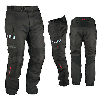 Motorcycle Trousers Waterproof Motorbike Textile Thermal Black Size 38