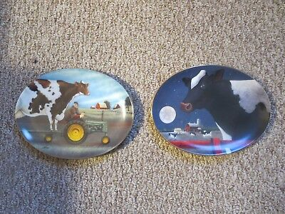 Two Lowell Herrero  Cow Plates  Oval Franklin Mint.