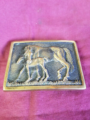 Solid Brass Vintage Horse and Foal Belt Buckle