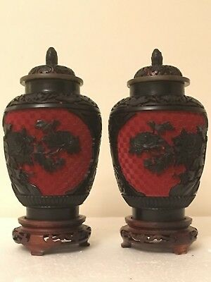 Pair Vintage Chinese Carved Black n Red Cinnabar Lacquer Vases w Stands