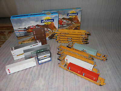 2x Athearn 5 Car set 48' Gunderson Maxi-III DTTX #5912 (2 sets with containers)