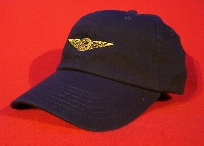 NAVAL AIR CREW Aviator Wings Ball Cap, NAVY BLUE low-profile embroidered hat