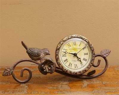 New French Country Vintage Antique Style Bird Branch Shelf Mantel Clock