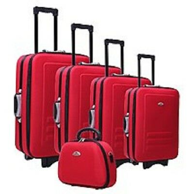 5Pcs SUITCASE TROLLEY TRAVEL BAG LUGGAGE SET Built-In Combination Padlocks RED