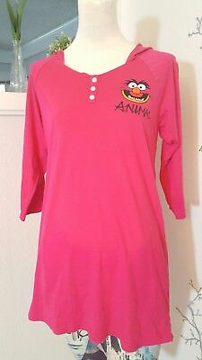 The Muppets Party Animal Women's Red 3/4 Sleeve T-Shirt Tee Hoodie Knit Sz. M
