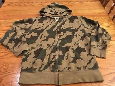 Old Navy Youth Boys Size Large Green Camouflage Full-Zip Hoodie Jacket Hooded