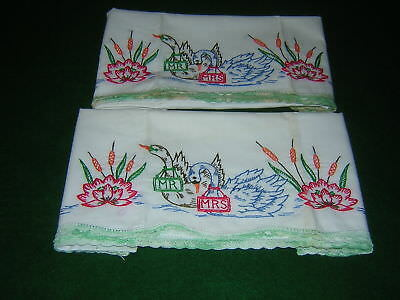 Pair Of Vintage Pillowcases Hand Embroidered Mr. Mrs. Swans Floral Cat Tails