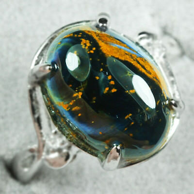 18.55CT 100% Natural 18K Gold Plated Pietersite Cab Ring UDBD88