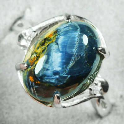 17.1CT 100% Natural 18K Gold Plated Pietersite Cab Ring UDBD89