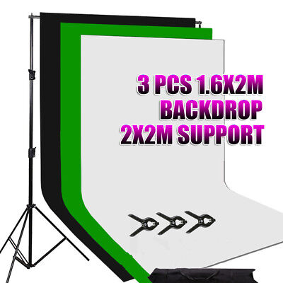 3 Backdrop + Stand Black White Green Photography Screen Non Wove Background Kit