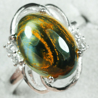 18.75CT 100% Natural 18K Gold Plated Pietersite Cab Ring UDBD90