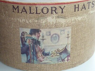 Vintage Estate 1940's-50's Mallory Hat Box~Brown Tweed Paper/Victorian Picture