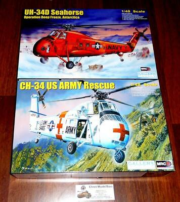 2 Heli Hubschrauber UH-34D Seahorse +CH-34 US Army Rescue1:48 MRC 64106 64103