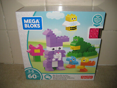 Mega Bloks-My Friendly Garden Set Ages 2-5-60Pcs By Fisher Price-New In Box