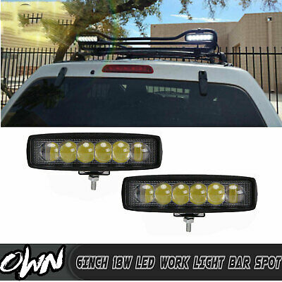 2x 7INCH 36W LED WORK LIGHT BAR FLOO Beam OFFROAD ATV FOG TRUCK LAMP 4WD 12V 6""