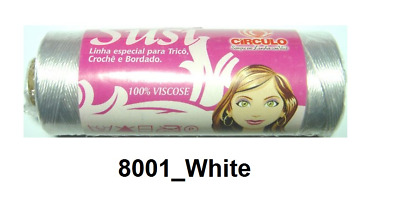 Circulo SUSI 8001_WHITE Crochet Rayon Thread Knitting comparable to Perle 8 size