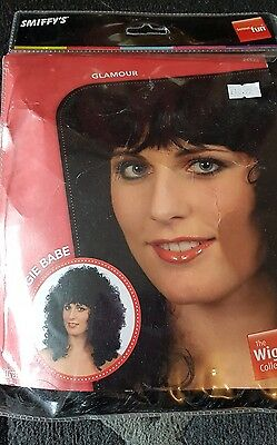 Smiffys boogie babe long curly perm cher 80s disco wig black fancy dress