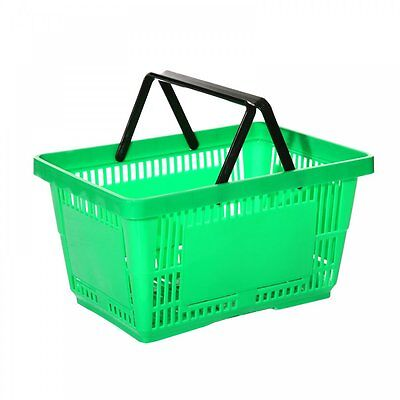 10x New Green Supermarket Grocery Shopping Basket DIY 28 Litre Retail Basket