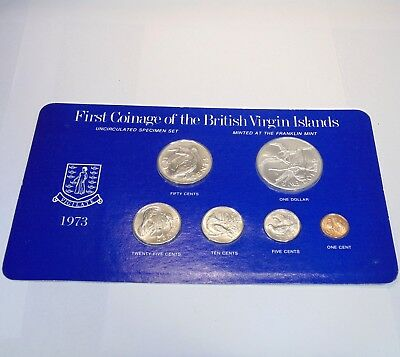 1st Coinage British Virgin Islands 1973 Franklin Mint Silver $1 uncirculated set