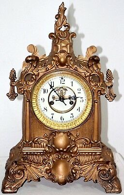 Antique Massive Waterbuery Iron/ Bronze Scrolled Mantel Clock W/ Open Escapement