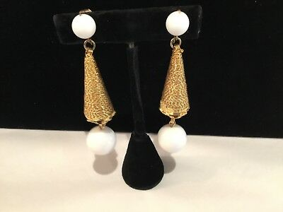 Vintage Rare Signed Vogue Jlry Long Goldtone & White Ball Earrings No Res Deco