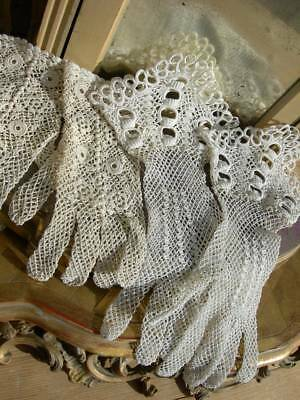 2 pairs antique vintage French 1930s hand made Irish crochet lace gloves
