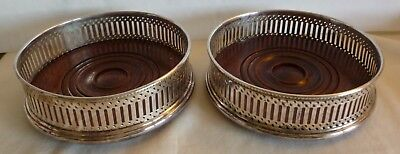 Pair Of English Silverplated & Wood Wine Bottle Coasters-- In A  Box