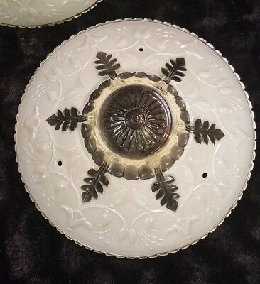 Vtg Antique White Frosted Glass 3 Chain Ceiling Light Fixture Shade Flower Leafs