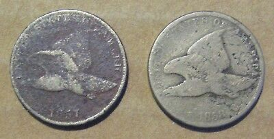1857 & 1858 Flying Eagle Cents Damaged Take a Look