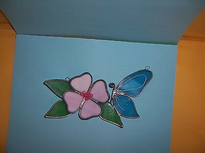 Stained Glass Suncatcher Blue Butterfly by Pink Flower w/3 Green Leaves Handmade