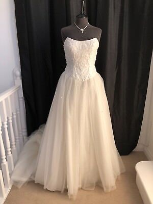 Alfred Angelo Strapless Ivory Tulle Princess Wedding Dress UK10/12 RRP£1200