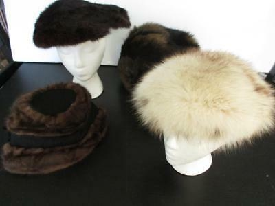 Lot of  Vintage 4 Fun Fur Hats Muff Mink Fox Great For Resale or Your Pleasure