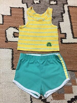 Vintage 70s Rad Baby Outfit Set Gym Shorts Tank Top 12 Months Made In USA