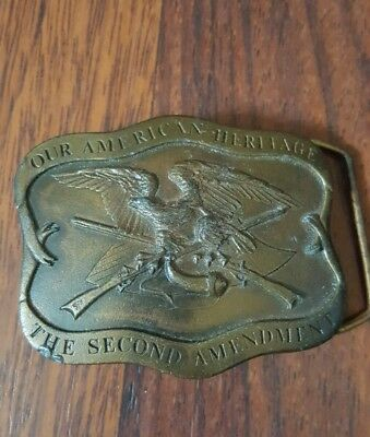 Second Amendment Guns Firearms Indiana Metal Craft 1970's Vintage Belt Buckle
