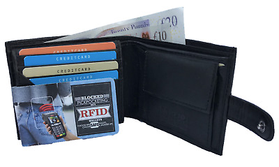 Rfid Leather Wallet Blocking Super Soft Black Coin Pocket Id Holder Contactless