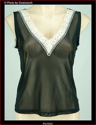 Charlie Brown Sheer Black Camisole Crochet Detail Bodice Size 14