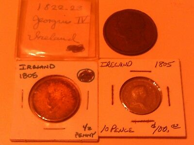 Rare Lot Group 3 Coins Ireland Silver 1805 10 Pence 1805 1/2 Penny 1923 Georgiu