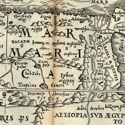 Africa north Marmarica Mts. of moon Aethiopia 1576 Petri rare old miniature map