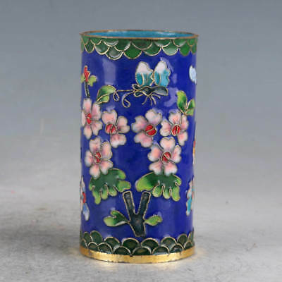 Chinese  Cloisonne Hand-made Flowers&Tree Brush Pots JTL1028