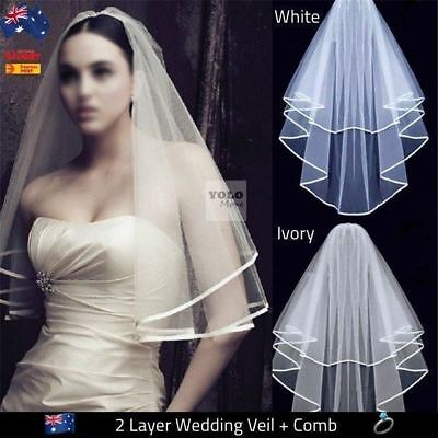 Bridal Wedding Veil 2-Tier With Satin Edge&Comb for Bride Dress White Ivory AUS