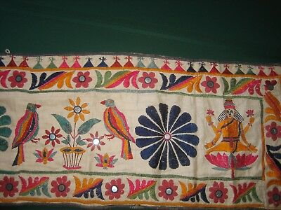 """168""""x13.5""""  VTG HAND EMBROIDERY MULTI COLOR ETHNIC INDIA WALL HANGING, MIRRORS"""