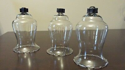 3 Home Interior Clear Etched Wheat Pattern Votive Cups Homco with Grommets