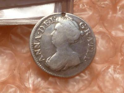 1705 Queen Anne Silver Maundy Threepence Colonial Coin #2